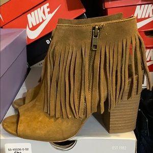 Open toe fringe booties